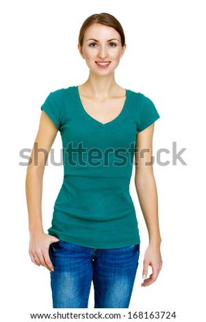 Smiling young woman isolated on a white background. Happy casual style girl isolated on a white background - stock photo
