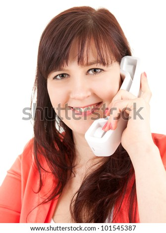 smiling young woman on the phone, white background