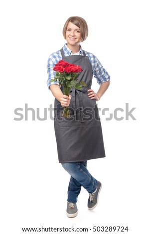 smiling young woman professional florist offering to buy red rose flowers isolated on white background. shopping, business and floristry concept