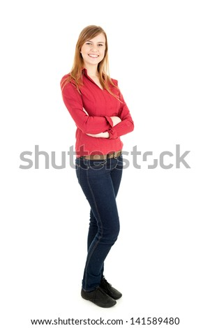 smiling young woman with folded arms, looking, full lenght, white background