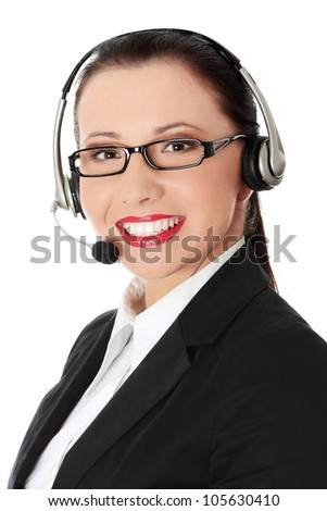 Smiling young woman with phone-headset and microphone. Isolated on the white background. - stock photo
