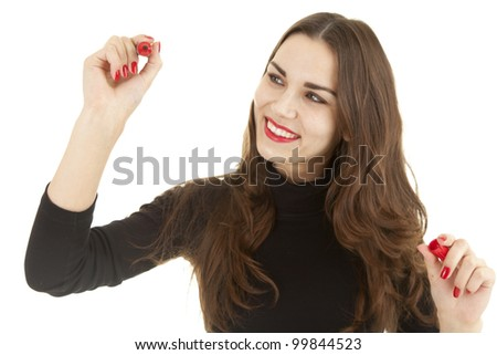 smiling young woman writing or drawing something on screen with red marker