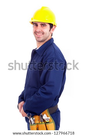 Smiling young worker isolated on white background - stock photo