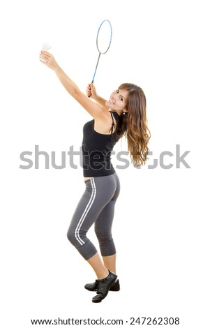 smilite pretty woman player with badminton racket holding and ready to strike ball isolated on white background - stock photo