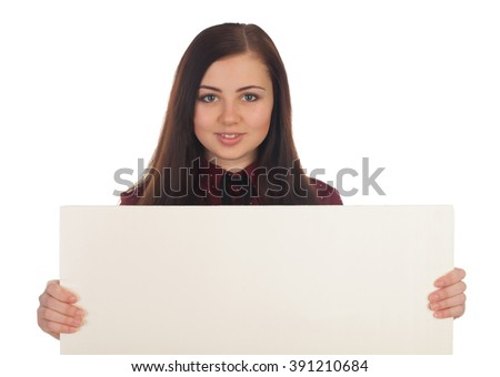 Smilling woman is holding a canvas
