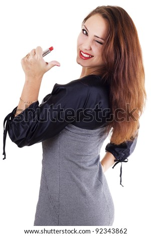 Smilling woman with red lipstick isolated on white