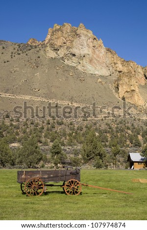 Smith Rock old sideboard wagon wild west Oregon State Park USA - stock photo