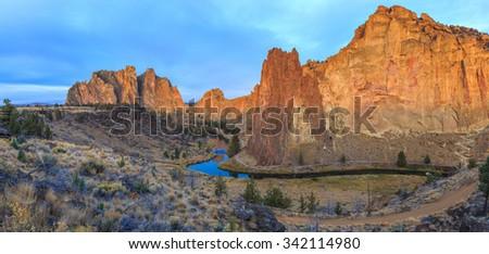 Smith Rock State Park at sunrise, Oregon, USA - stock photo