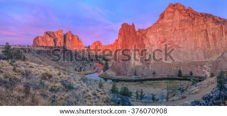 Smith Rock State Park, Oregon, USA  - stock photo