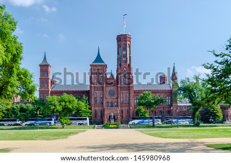 Smithsonian Castle, Washington DC, USA - stock photo