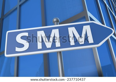 SMM - Search Media Marketing - illustration with street sign in front of office building.