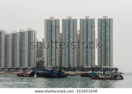 smog in Aberdeen harbour, Hong Kong - stock photo