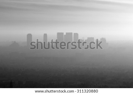 Smoggy black and white view of Century City, Beverly Hills and West Los Angeles.   - stock photo