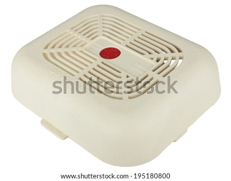 Smoke alarm isolated on white background with clipping path - stock photo