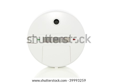 Smoke/Carbon monoxide alarm isolated on white with clipping path - stock photo