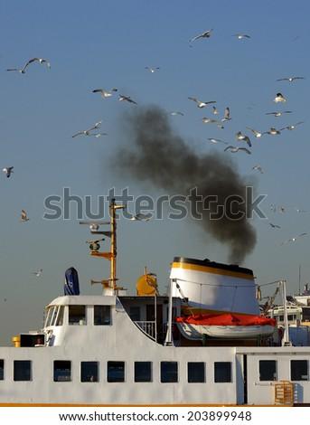 smoke chimney and birds  - stock photo