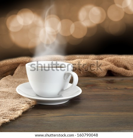 smoke coffee and bokeh space background  - stock photo