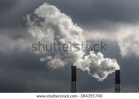 Smoke coming from pipes.