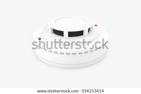 Smoke detector isolated on white with clipping path - stock photo