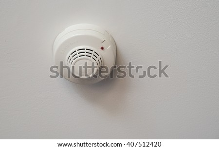 Smoke detectors in the ceiling white. - stock photo