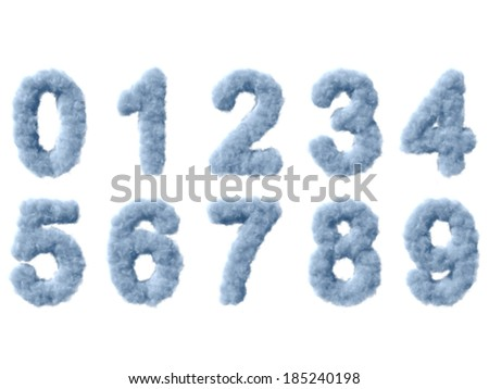 Smoke digits on white background, high quality 3d render - stock photo