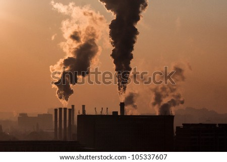 Smoke emission from factory pipes, daily at may window, a contamination of the ozone
