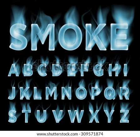 Smoke font collection. Fog and clouds font. Gas font. Dark smoke letter.