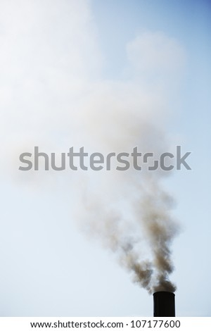 Smoke from a chimney, Stockholm, Sweden. - stock photo