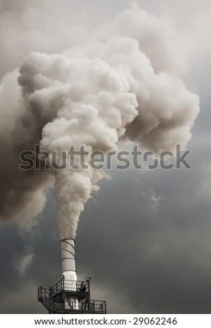 Smoke from talk, ecology problems - stock photo