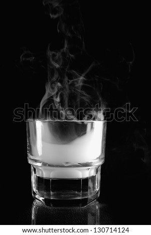 Smoke from the glass