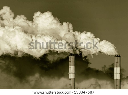 Smoke from the pipes of heat station - Moscow (stylized retro)