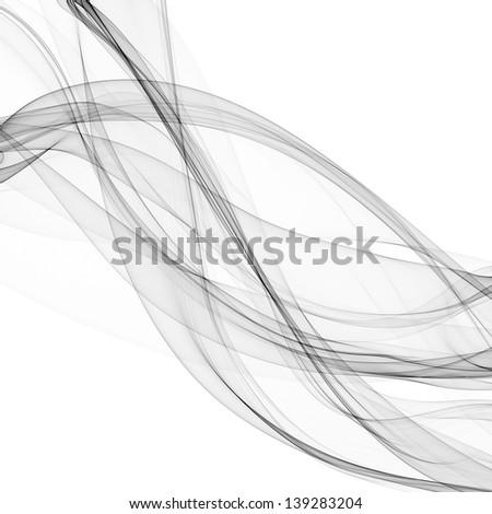 smoke, gray silk, isolated on white background raster - stock photo