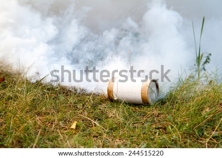Smoke grenade on grass. - stock photo