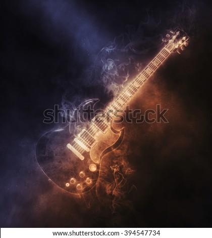 Smoke hard rock guitar - stock photo