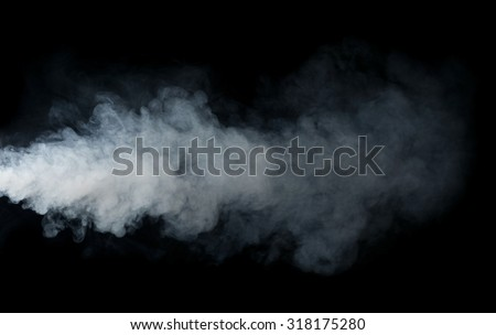 Smoke isolated on black background - stock photo