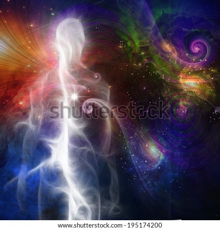 Smoke like Human Figure in Space - stock photo
