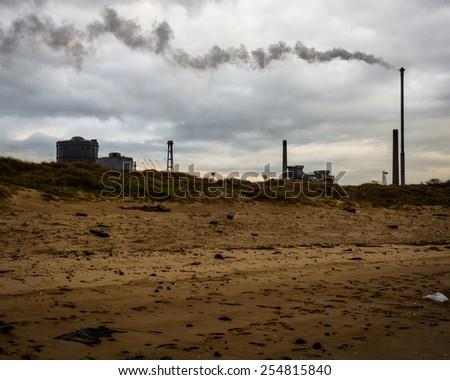Smoke on the Beach - stock photo