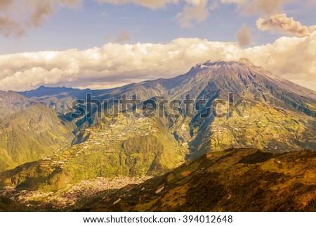 Smoke Rises From Tungurahua Volcano, February 2016, Powerful Explosion, Aerial View, Ecuador, South America  - stock photo