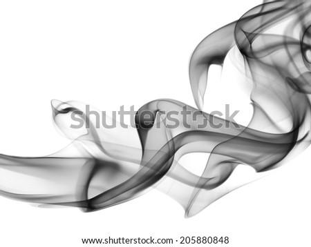 Smoke shapes on white background  - stock photo