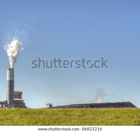 Smoke Stack with White Smoke - stock photo