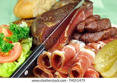 Smoked bacon from Italy - stock photo