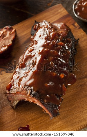 Smoked Barbecue Pork Spare Ribs with Sauce - stock photo