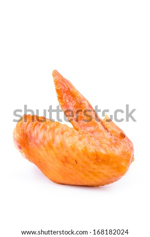 Smoked chicken wings on white background