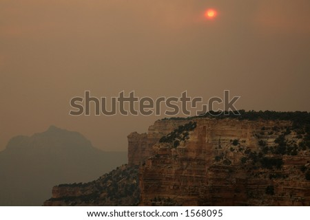 Smoked Filled Grand Canyon – Forest Fire - stock photo