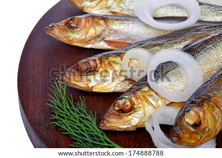 Smoked fish, salad and onion - stock photo