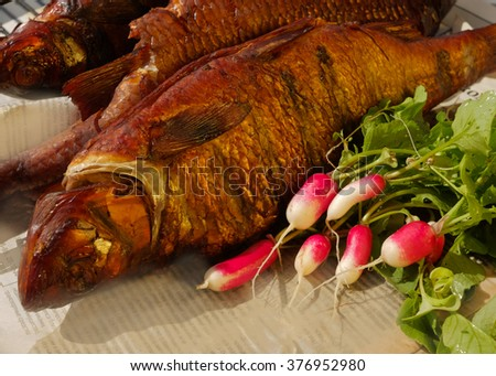 smoked fish with young radish, parsley