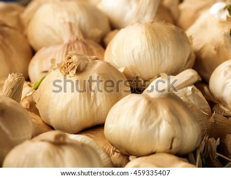 Smoked Garlic bulbs a popular flavoursome ingredient in modern bistro recipes.