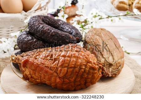 Smoked ham and sausage - stock photo