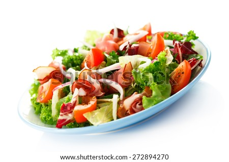 Smoked ham and vegetables on white background - stock photo