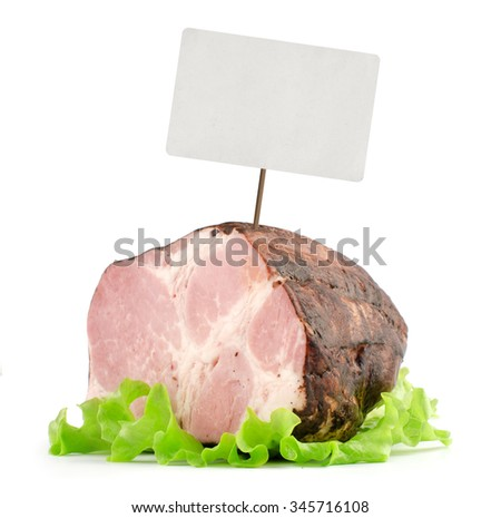 smoked ham with price tag isolated on white - stock photo